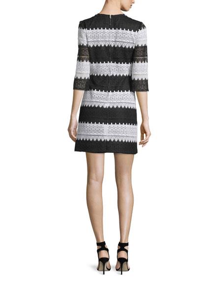 Jill Jill Stuart 3/4-Sleeve Striped Lace Dress