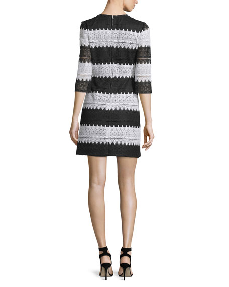 3/4-Sleeve Striped Lace Dress