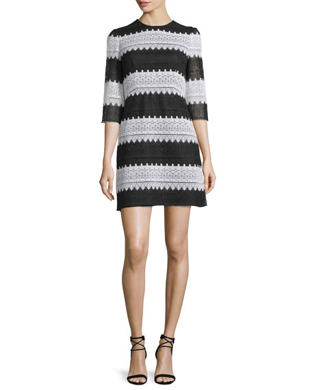 Jill Jill Stuart 3/4-Sleeve Striped Lace Dress