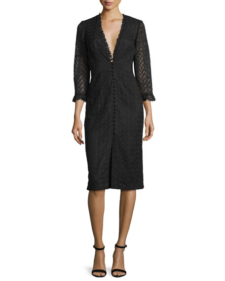 Jill Jill Stuart 3/4-Sleeve Lace Button-Front Sheath Cocktail