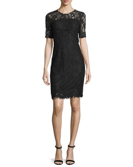 Elie Tahari Bellamy Lace Long-Sleeve Dress, Black