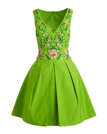 Sleeveless Floral-Embroidered Party Dress
