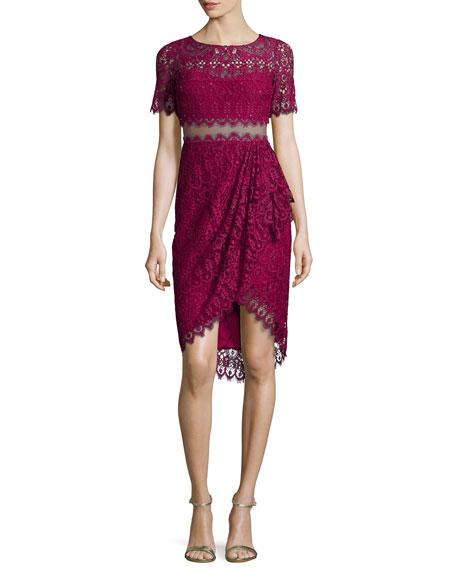 Marchesa Notte Short-Sleeve Lace Faux-Wrap Illusion Dress