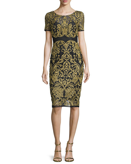 Marchesa Short-Sleeve Embroidered Sheath Dress, Black