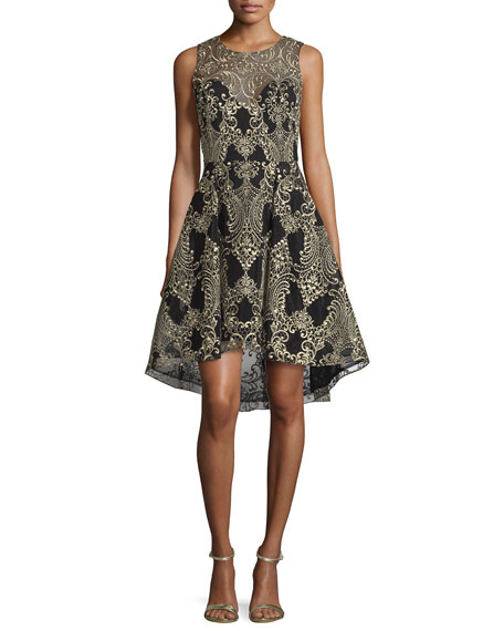 Marchesa Notte Embroidered High-Low Cocktail Dress, Black
