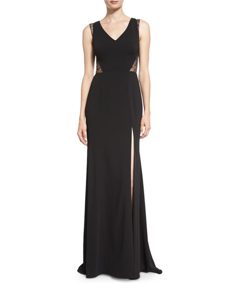 Marchesa Notte Sleeveless Lace-Inset Column Gown, Black