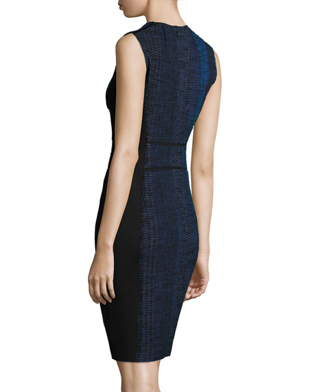 Cassandra Striped Tweed Sheath Dress, Black Multi