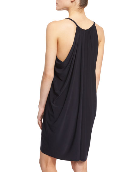 Draped-Front Sleeveless Coverup Dress