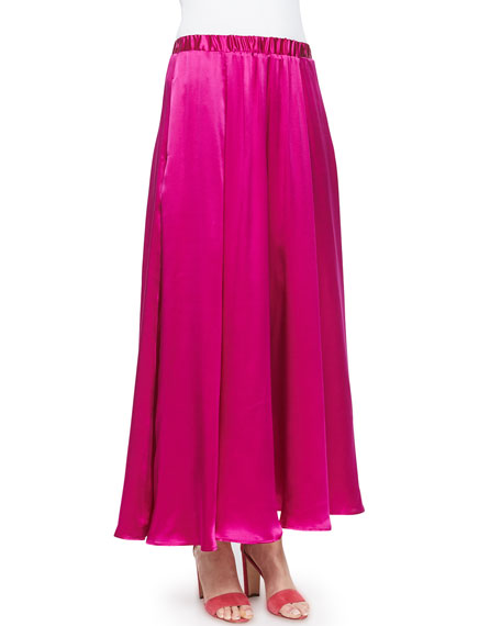 Neiman Marcus Silk Pull-On Maxi Skirt, Fuchsia