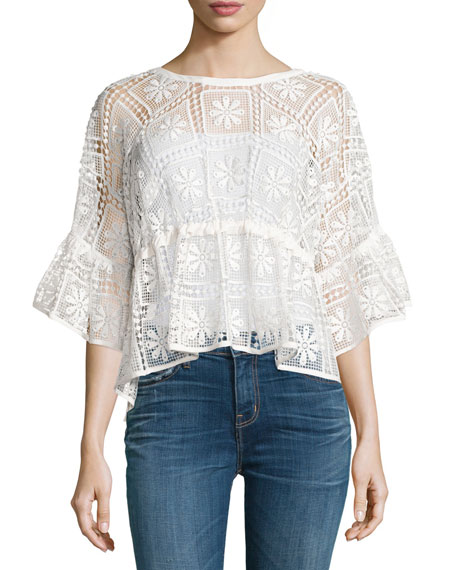 Elizabeth and James Sarissa Half-Sleeve Macrame Top, Ivory