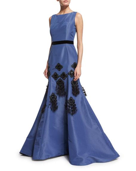 Sleeveless Embellished Mermaid Gown, Slate Blue