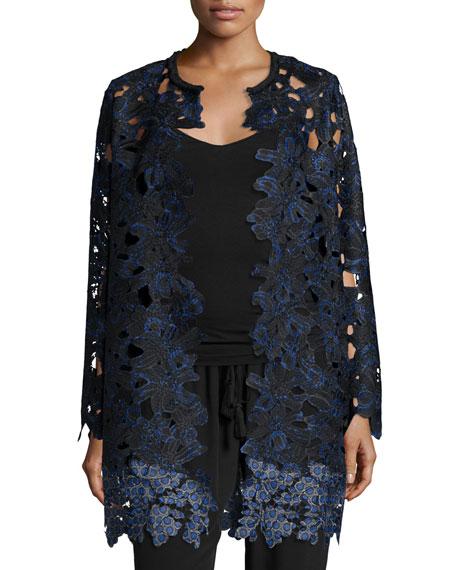 Elie Tahari Lauren Long Lace Coat Black Neiman Marcus