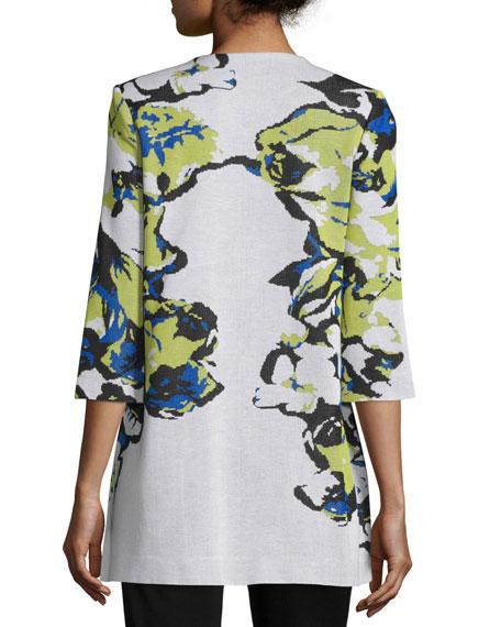 Floral-Knit Long Jacket, Multi Colors, Petite