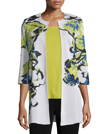 Misook Floral-Knit Long Jacket, Multi Colors, Plus Size