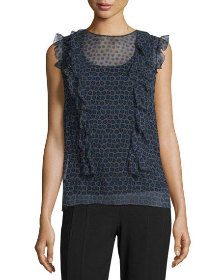 DKNY Minny Cap-Sleeve Printed Silk Chiffon Blouse &