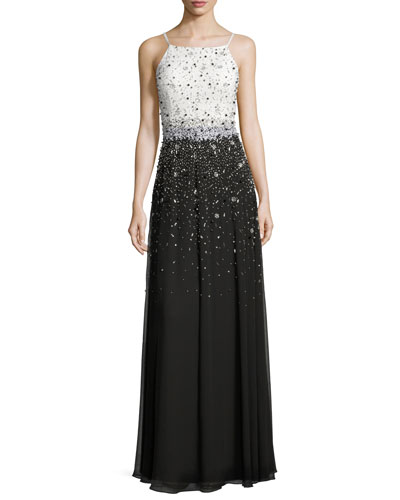 Sleeveless Beaded Combo Gown
