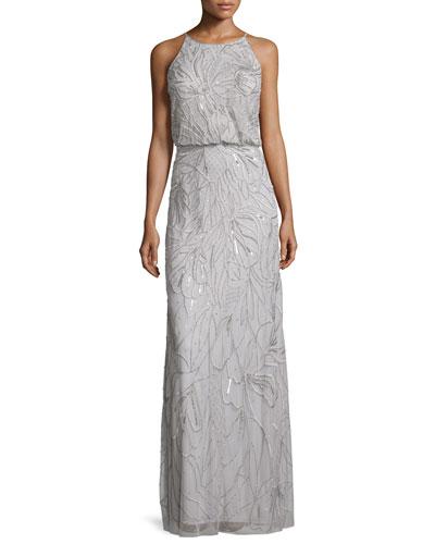Sleeveless Beaded Blouson Gown