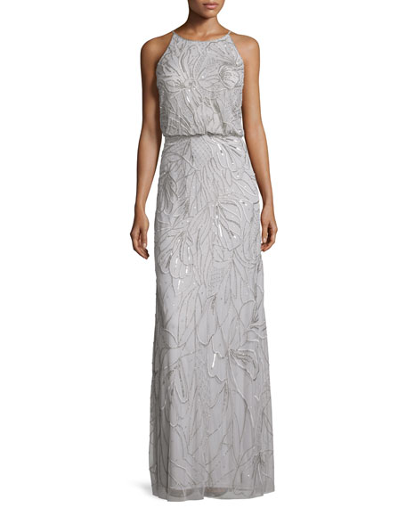 Aidan Mattox Sleeveless Beaded Blouson Gown