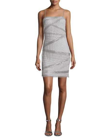 Aidan Mattox Sleeveless Beaded Cocktail Dress, Silver