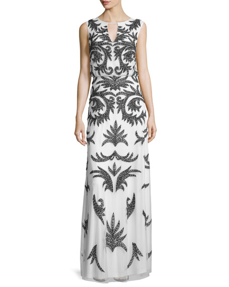 Aidan Mattox Sleeveless Keyhole Beaded Mesh Gown