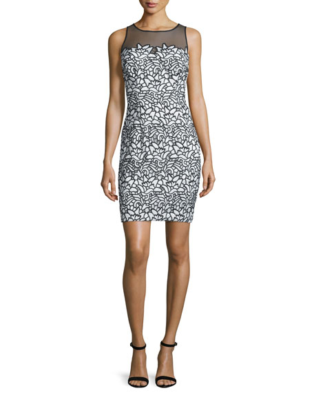 Aidan Mattox Sleeveless Lace Combo Cocktail Dress, Black/Ivory