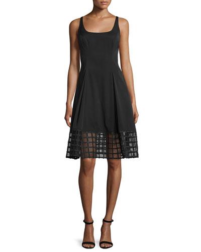 Sleeveless Grid-Hem Fit & Flare Dress