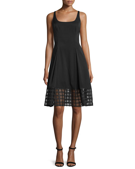 Aidan Mattox Sleeveless Grid-Hem Fit & Flare Dress