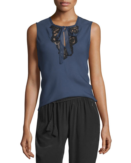 Elie Tahari Shoshanna Sleeveless Silk Blouse w/ Lace
