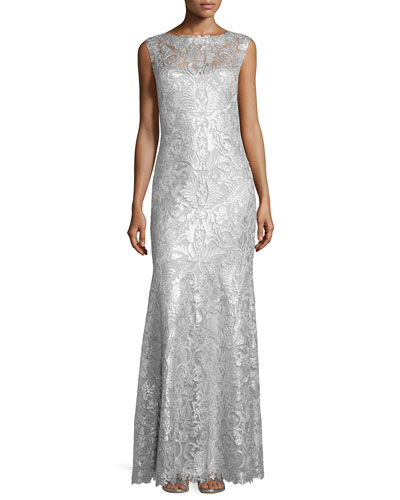 Sleeveless Sequined-Lace Gown