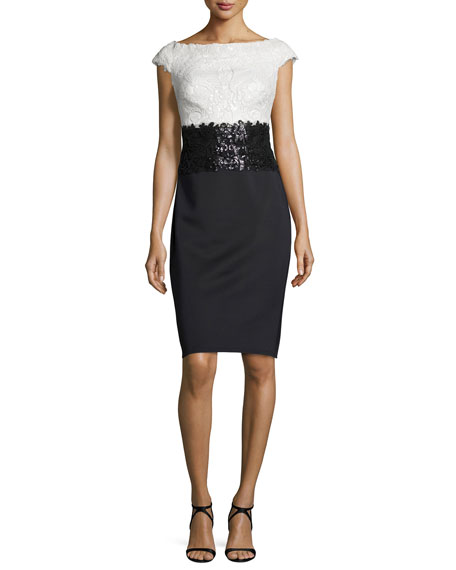 Tadashi ShojiCap-Sleeve Lace Sequined-Waist Combo Cocktail Dress