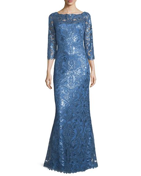 Tadashi Shoji 3/4-Sleeve Floral Paillette Lace Gown