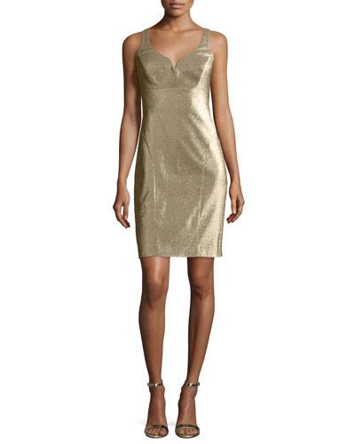 Metallic V-Neck Sleeveless Cocktail Dress, Gold