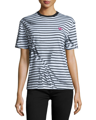 Short-Sleeve Classic Striped Tee, Black/White