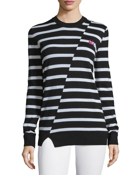 McQ Alexander McQueen Striped Wool Crewneck Sweater, Black/White