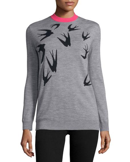 Jacquard Crewneck Sweater, Gray Melange/Black