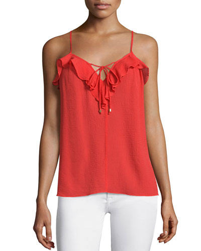Nete Ruffle-Trim Sleeveless Top, Cherry