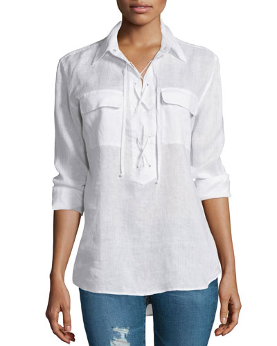Knox Long-Sleeve Lace-Up Top, White