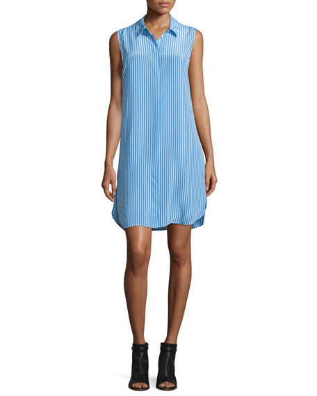 Equipment Lanie Sleeveless Striped Shirtdress, Regatta/Nature