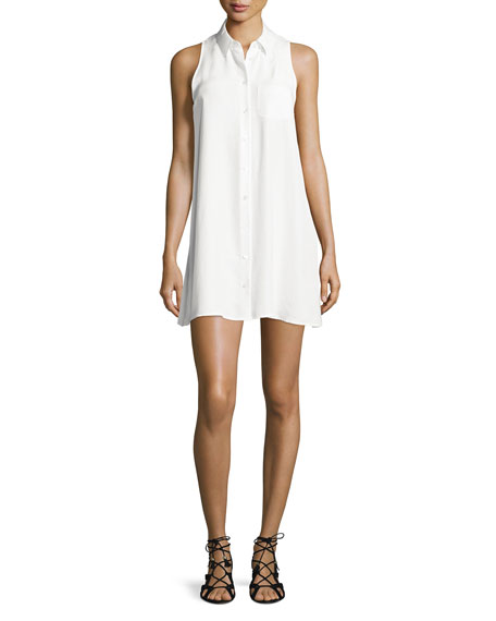 Equipment Mina Sleeveless Mini Shirtdress, Bright White