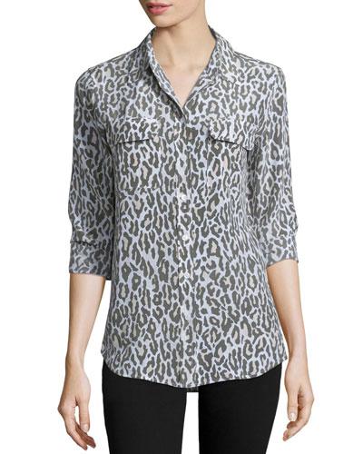 Slim Signature Animal-Print Shirt, Army Jacket/Multi