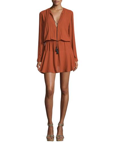 Pilar Long-Sleeve Blouson Mini Dress, Rust