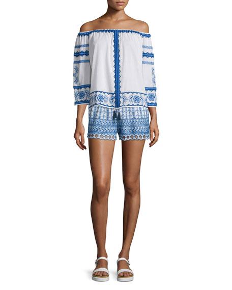 Shella Drawstring-Waist Embroidered Shorts, Ecru/Blue