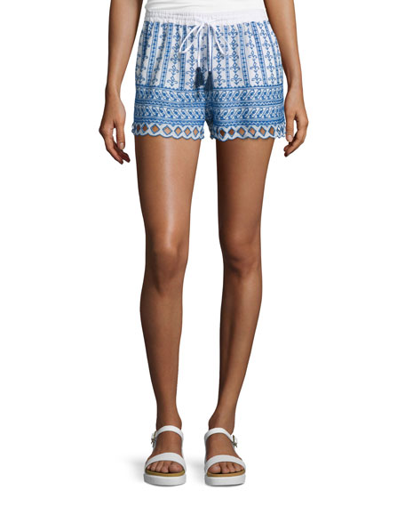 Love Sam Shella Drawstring-Waist Embroidered Shorts, Ecru/Blue
