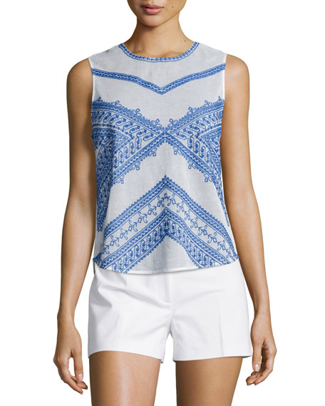 Love Sam Jamie Sleeveless Jewel-Neck Top, Ecru/Blue