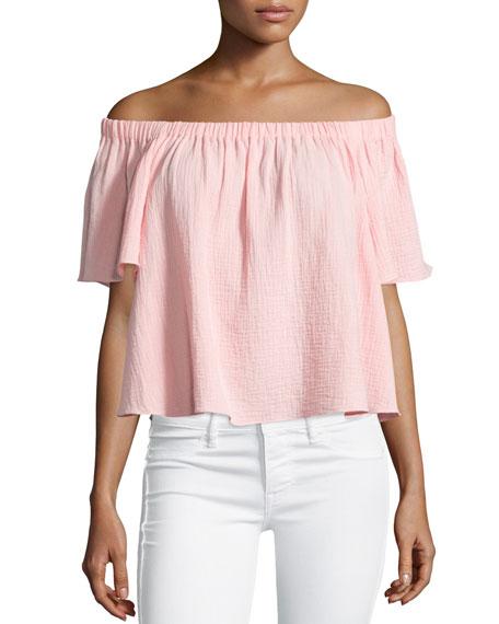 Rebecca Taylor Boxy Off-the-Shoulder Cotton Top, Malibu Peach