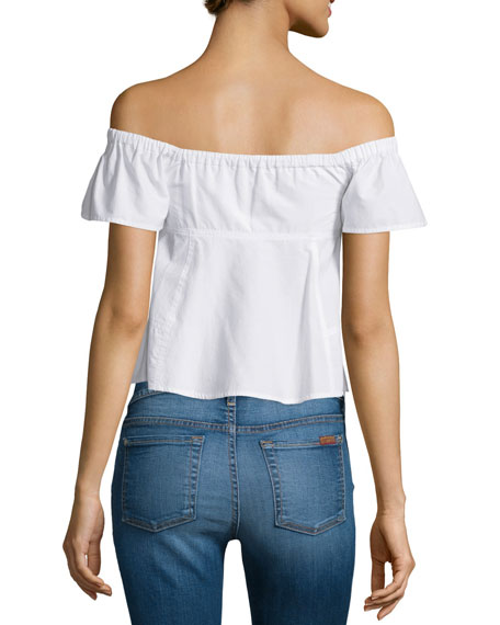 Rebecca Taylor Ruffle Off-the-Shoulder Poplin Top, Snow