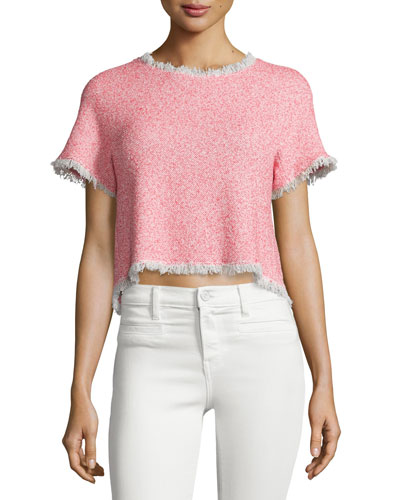 Short-Sleeve Summer Tweed Cropped Top, Coral