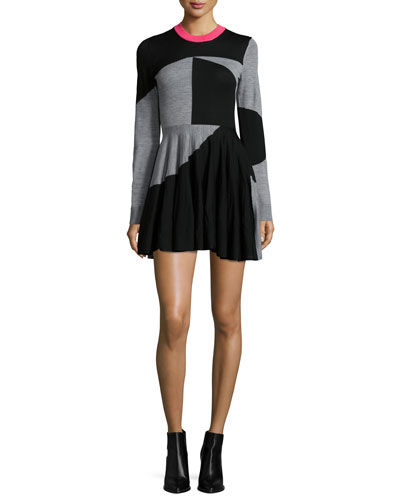 McQ Alexander McQueen Colorblock Fit-and-Flare Skater Dress, Black/Gray Melange