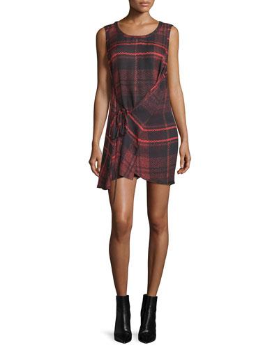 Sleeveless Tied Tartan Plaid Mini Dress, Red