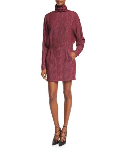 Printed Long-Sleeve Turtleneck Dress, Pink